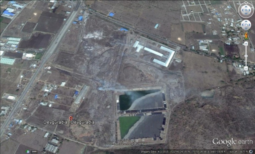 Google Earth View of Landfill site at Devguradia