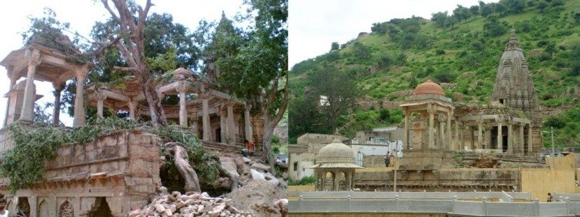 Biharji Temple before and after