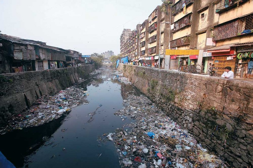 Major stormwater drain in Dharavi