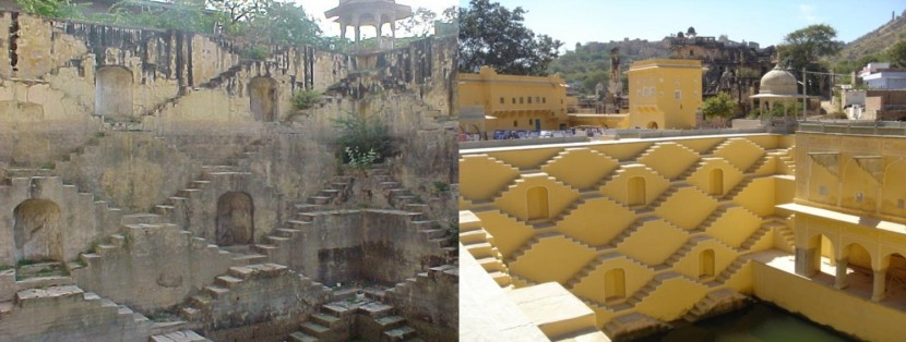 Restoration of Panna Meena Ka Kund beore and after