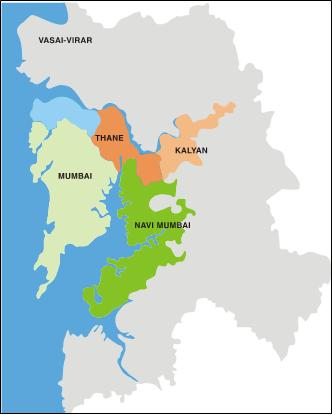 Map of Mumbai Metropolitan Region showing Thane and Kalyan
